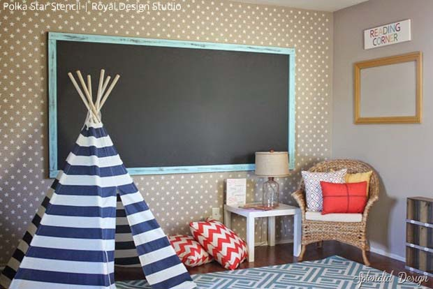 Accent wall with Polka Party Stencil by Royal Design Studio via Splendid Designs