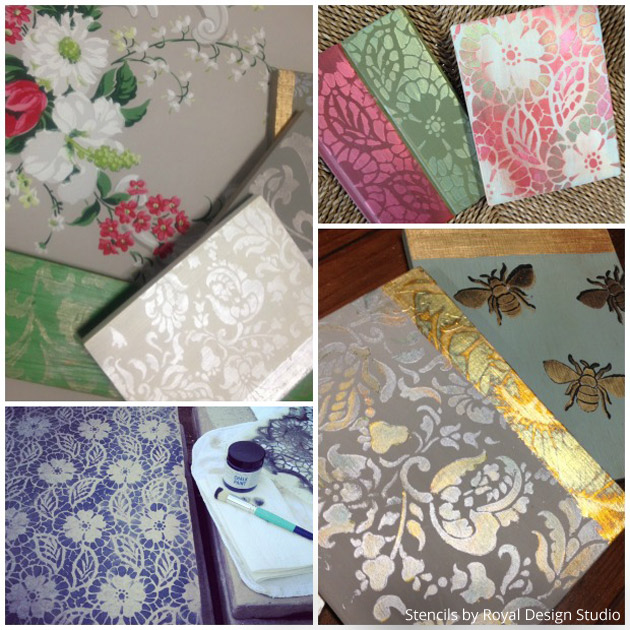 Stenciled Trim Pieces & Sample Boards via Brocante Stencil Stockist