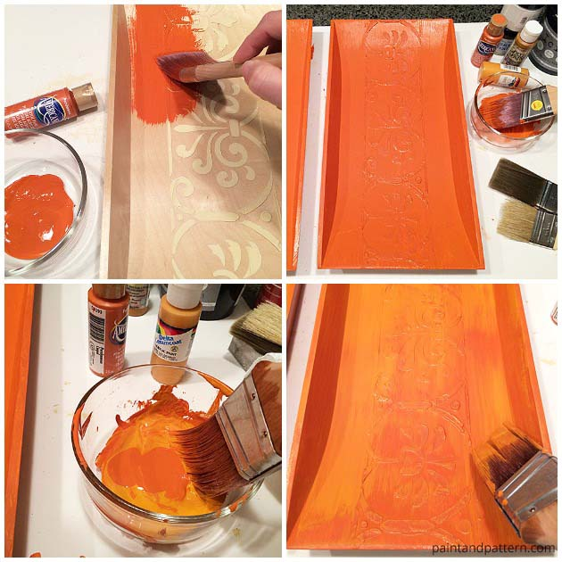Applying various shades of acrylic paint to get a matte Terra Cotta Effect | Paint + Pattern