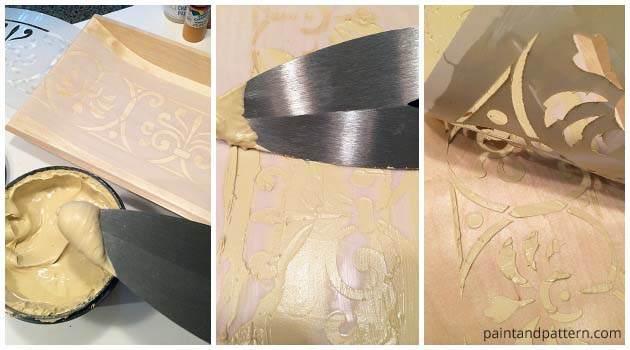 Applying Wood Icing on Stencil for Raised Effect | Paint + Pattern