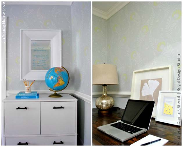 Home Office via Young House Love | Feathered Damask Stencil by Royal Design Studio