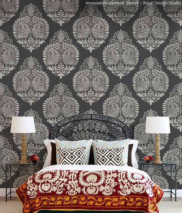 Annapakshi Damask Stencil by Royal Design Studio