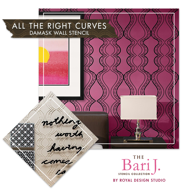 Bari J All The Right Curves Damask Wall Stencil | Paint + Pattern