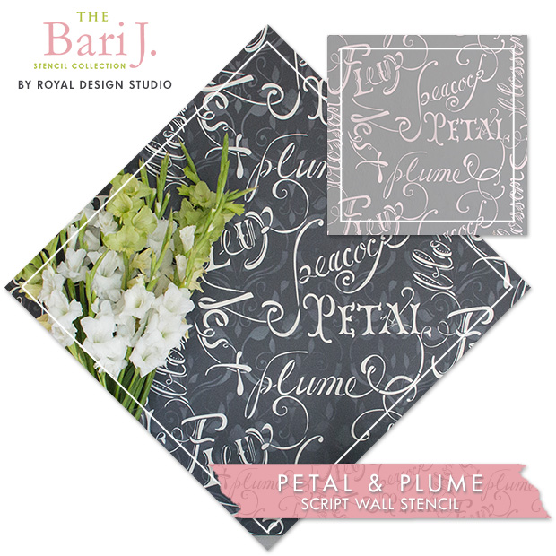 Bari J Petal & Plume Script Wall Stencil by Royal Design Studio