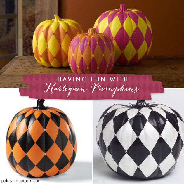 Paint a halloween pumpkin with harlequin stencil patterns Easy pumpkin painting patterns
