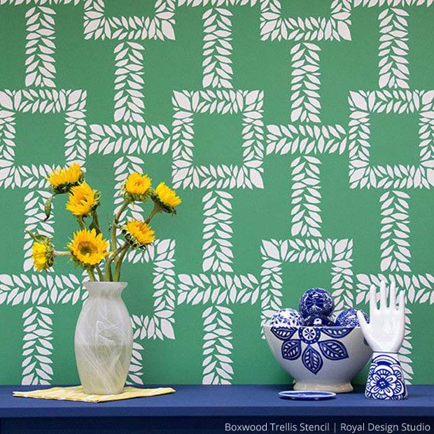 Boxwood Trellis Stencil by Royal Design Studio