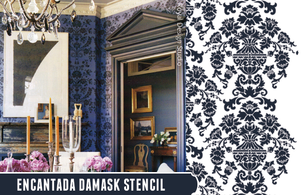 Get the look with Encantada Damask Stencil by Royal Design Studio | Paint + Pattern