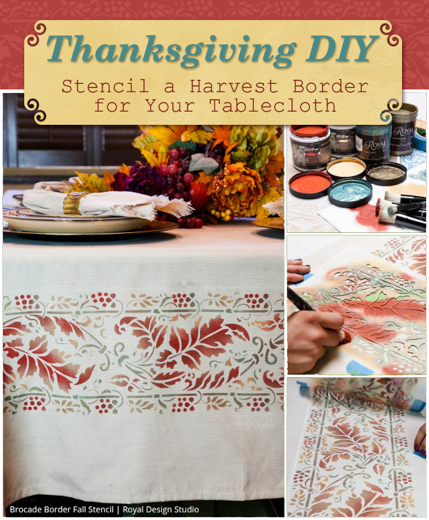 Thanksgiving Tablecloth DIY via Paint + Pattern | Brocade Border Fall Stencil by Royal Design Studio