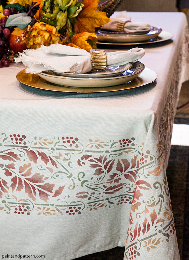 Thanksgiving Fall Table Cloth DIY | Brocade Border Fall Stencil by Royal Design Studio | Paint + Pattern