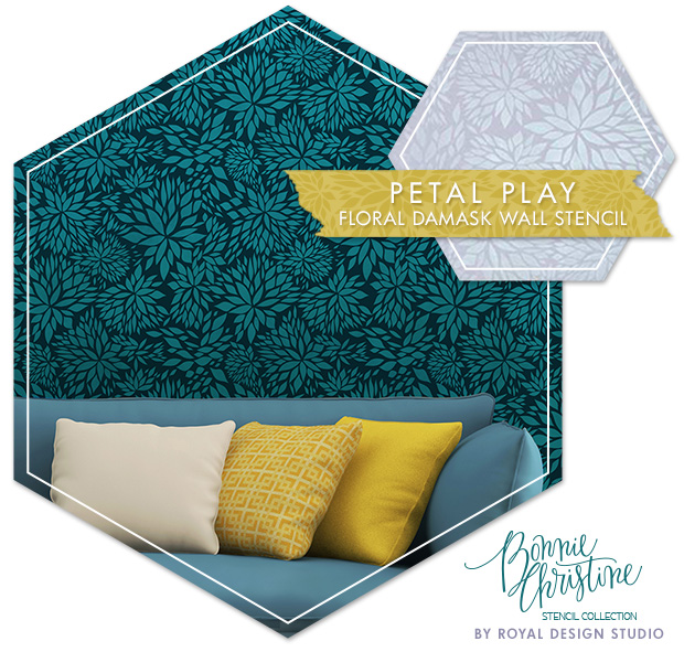 Petal Play Floral Damask Wall Stencil by Royal Design Studio | Paint + Pattern