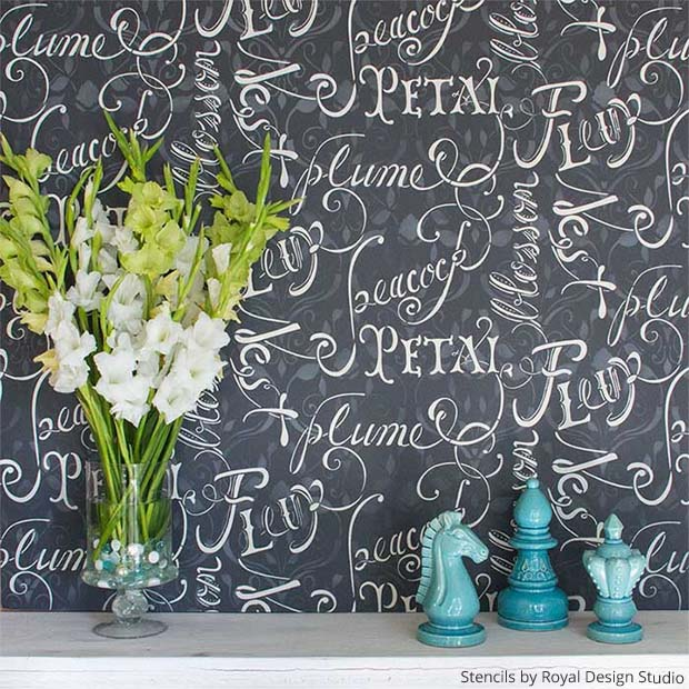Petal & Plume Script Wall Stencil paired with Delightful Damask Wall Stencil by Royal Design Studio | Paint + Pattern
