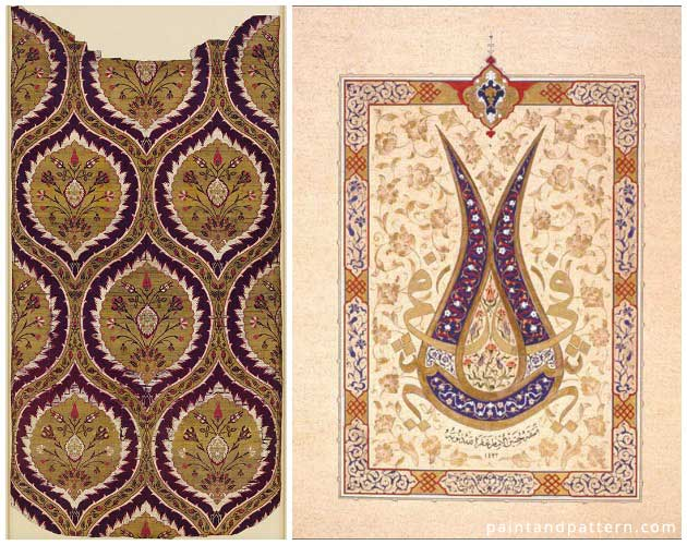 A ceremonial 16th century caftan from Istanbul (left) | Tulip Calligraphy from Gilding Diaries (right) | Paint + Pattern