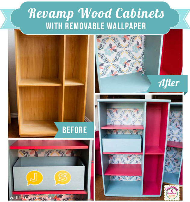 Revamp Wood Cabinets with Removable Wallpaper by Wallternatives | Paint + Pattern