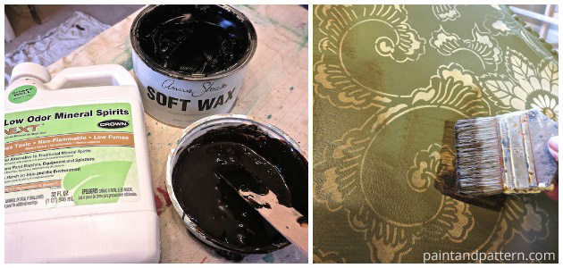 Apply Annie Sloan Soft Wax to give your stencil projects a worn look | Paint + Pattern