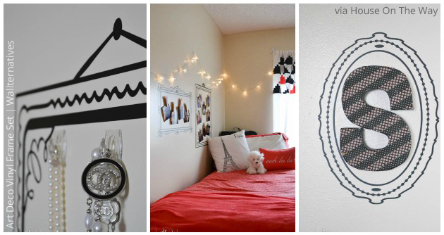 Dorm Decor with Art Deco Frame Vinyl Wall Decal Set | Wallternatives