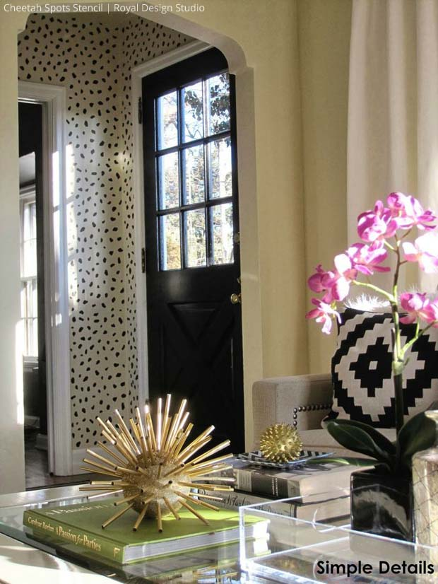Stenciled Foyer via Simple Details | Cheetah Spots Stencil by Royal Design Studio