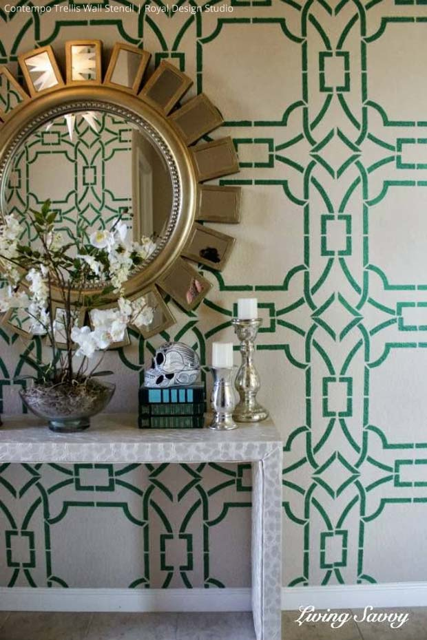 Stenciled Foyer Wall via Living Savvy | Contempo Trellis Wall Stencil by Royal Design Studio