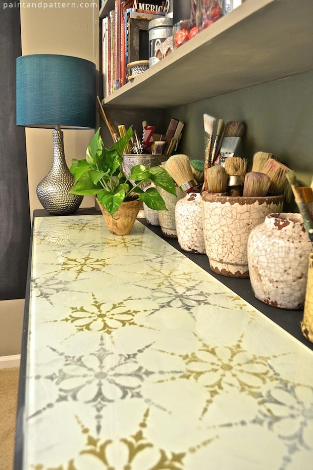 Decorate your glass surfaces with Verre Eglomise and Stencils by Royal Design Studio | Paint + Pattern