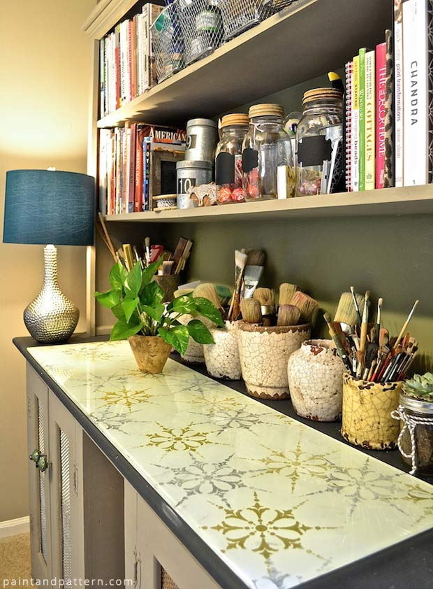 Decorate your surfaces with Verre Eglomise and Royal Design Studio Stencils | Paint + Pattern