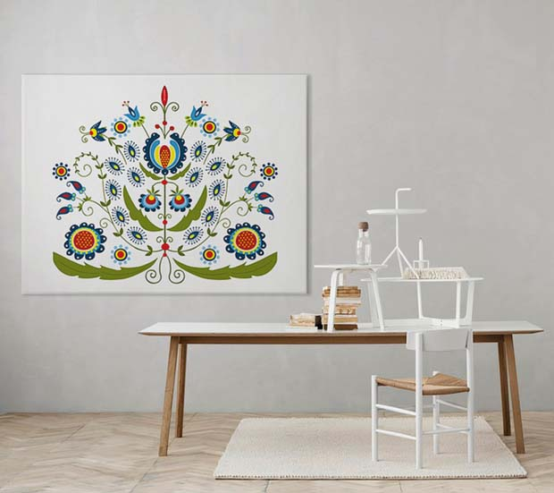 Scandinavian Folk Art Poster at myloview.com | Paint + Pattern