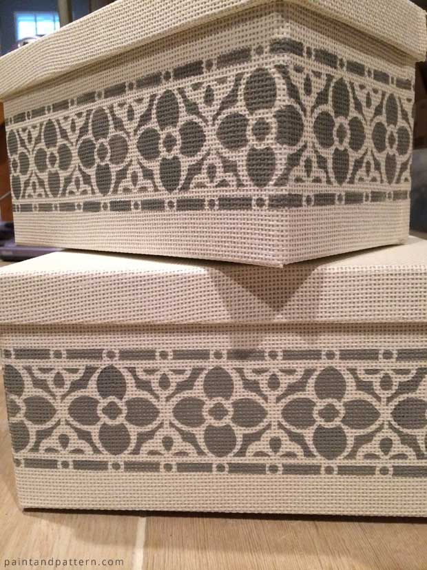 Stenciled IKEA Kvarnvik Storage Boxes | Flower Chain Border Stencil by Royal Design Studio