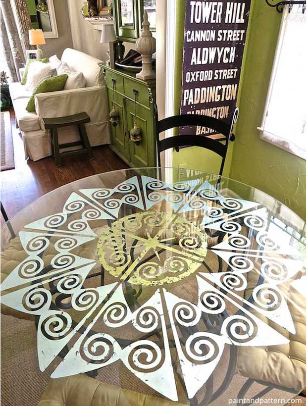 Decorating dining room table with Verre Eglomise and Modello | Paint + Pattern
