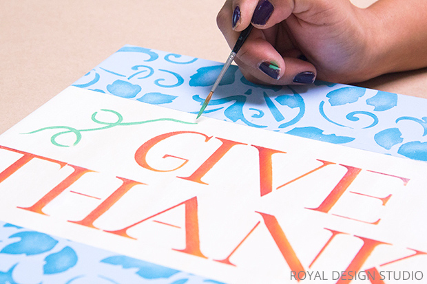 Thanksgiving Wall Art DIY | Typography Stencil by Royal Design Studio