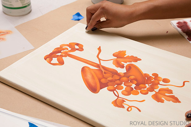 Thanksgiving Wall Art DIY | Fruit of the Vine Trophy Furniture Stencil by Royal Design Studio