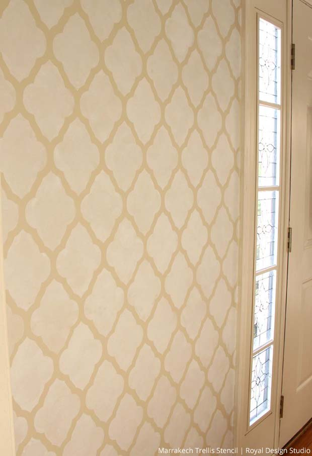 Stenciled Foyer Entrance | Marrakech Trellis Stencil by Royal Design Studio