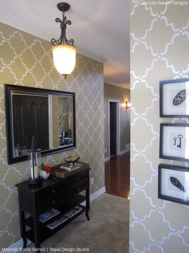 Stenciled Foyer by Lisa Goulet Designs | Moorish Trellis Stencil by Royal Design Studio