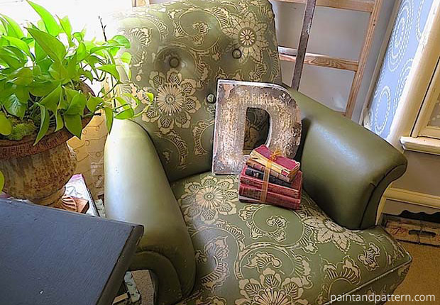 Stencil Diy Leather Club Chair Goes Drab To Fab