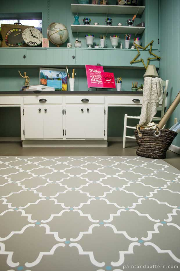 Stenciling a Concrete Floor | Moorish Trellis Stencil by Royal Design Studio