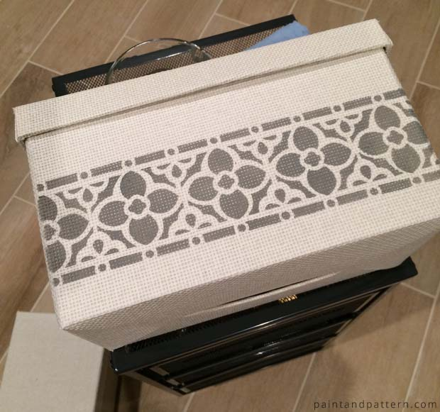 Stenciled IKEA Kvarnvik Box | Flower Chain Border Stencil by Royal Design Studio via Paint + Pattern