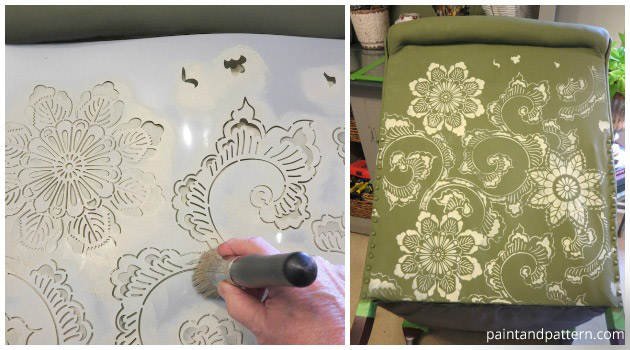Stenciling a Club Chair with Kimono Allover Stencil by Royal Design Studio | Paint + Pattern