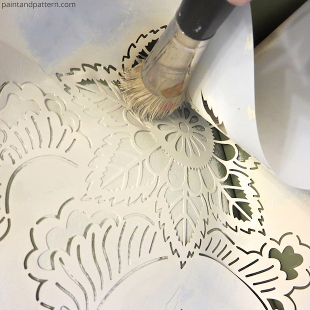 stencil diy leather club chair goes drab to fab paint pattern
