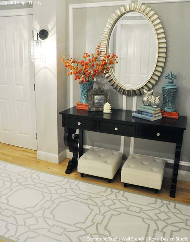 Stenciled floor via All Things Thrifty | Contempo Trellis Stencil by Royal Design Studio