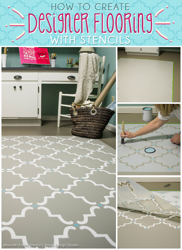 How to Create Designer Flooring With Stencils   Paint + Pattern