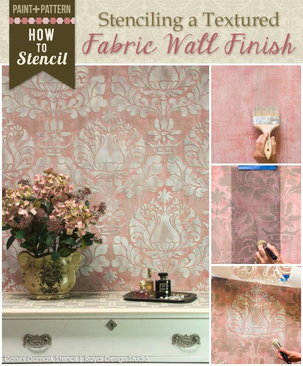 How to stencil a beautiful textured fabric-like wall finish with a Royal Design Studio damask stencil pattern