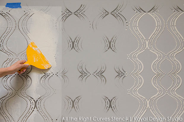 How to stencil emboss a raised allover stencil pattern. All the Right Curves stencil from Royal Design Studio