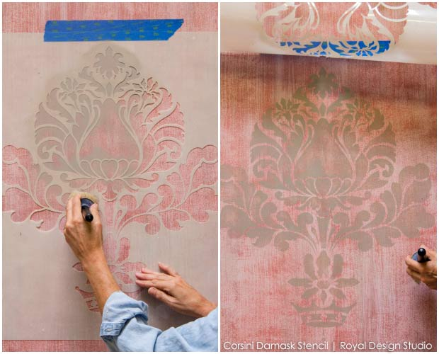How to paint and stencil texture with screens to create a beautiful fabric-inspired wall finish. via Paint and Pattern.