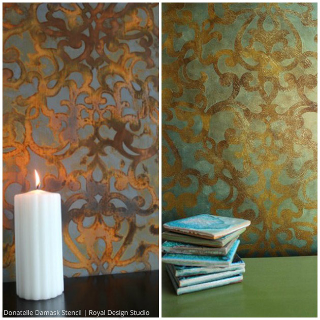 Metallic stencil treatment via Ali Kay | Donatelle Damask Stencil by Royal Design Studio