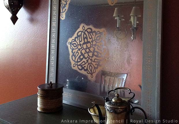 Give Your Mirror An Antique Look With Stencils