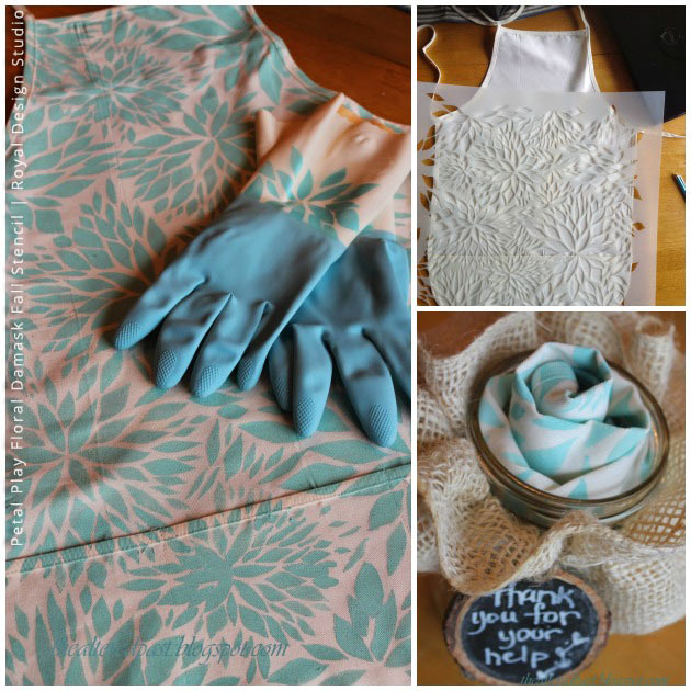 Apron & Glove Thanksgiving Gift Set via The Altered Past   Petal Play Floral Damask Fall Stencil by Royal Design Studio