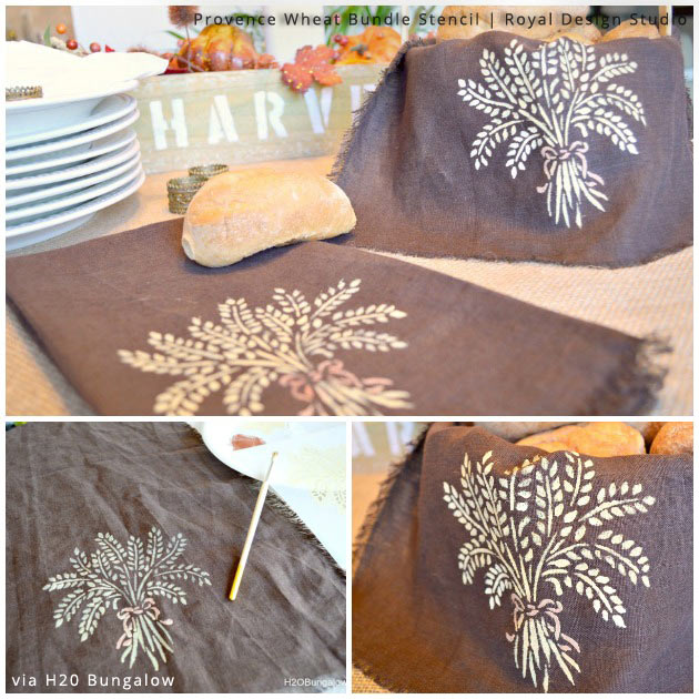 Bread Basket Liner via H2O Bungalow | Provence Wheat Bundle Stencil by Royal Design Studio