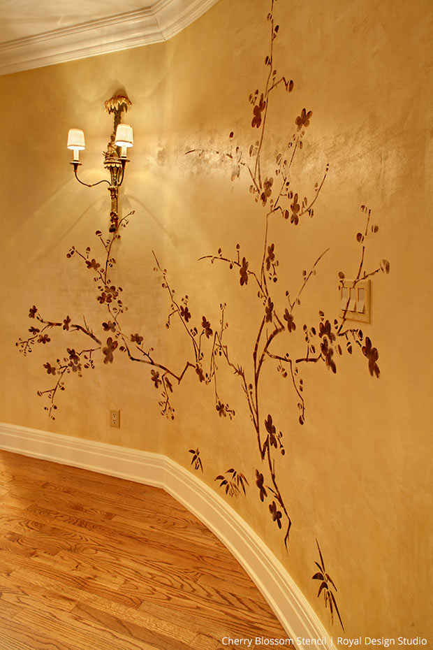 Cherry Blossoms Stencil on Venetian Plaster walls | Royal Design Studio