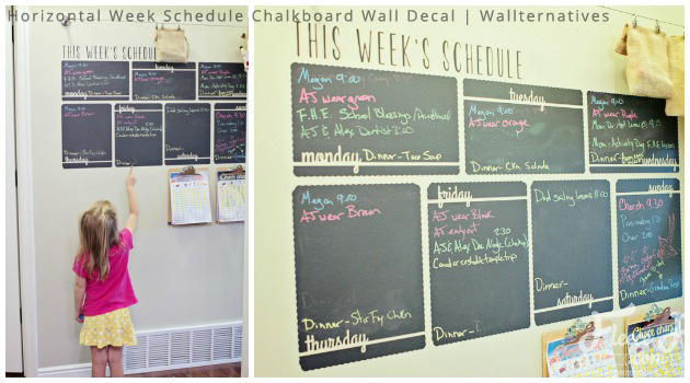 Color Code your Hectic Schedule with Horizontal Chalkboard Calendar Wall Decals by Wallternatives