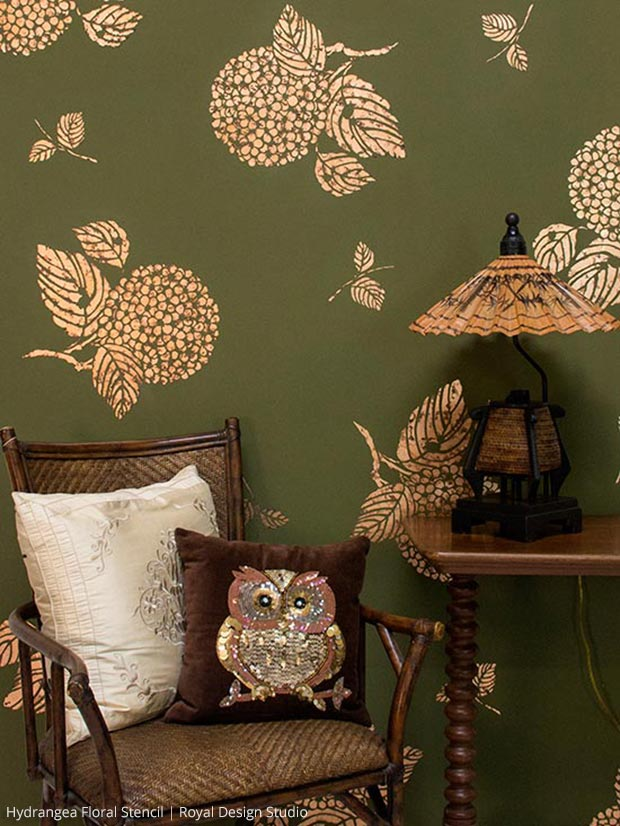 Copper Leaf Finish on Japanese Hydrangea Floral Stencil | Royal Design Studio