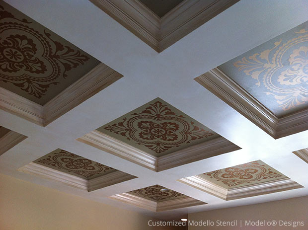 Customized Modello Designs Stencil for Coffer Ceiling | Modello® Designs