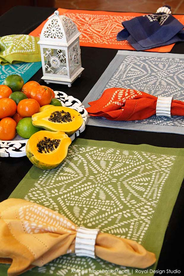 Stenciled Placemats with Discharge Paste | Tribal Batik Furniture Stencil by Royal Design Studio