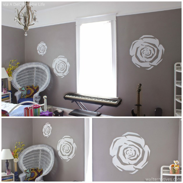 Room Makeover via A Delightsome Life |Graphic Roses Vinyl Wall Decal by Wallternatives